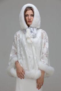 Hood telemachou of white mink