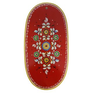 "Board kitchen oval ""Shenkurskiy mural"" red background 45 cm"