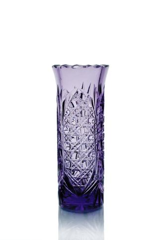 "Crystal vase for flowers ""Beads"" small violet color"