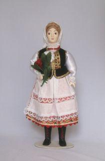 Doll gift porcelain. Poland. Harvest festival. Women's folk costume.