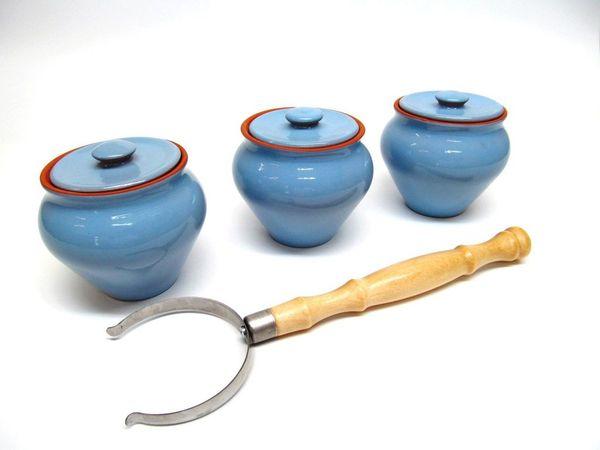 Vyatka ceramics / Set 1/3, 3 pots, 0.7 l each. (blue)