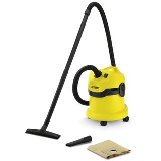 Vacuum cleaner KARCHER (KARCHER) WD 2, with dust bag power consumption 1000 W, yellow