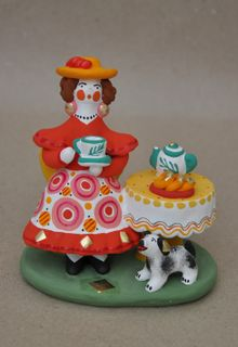 Dymkovo clay toy Tea party with a dog