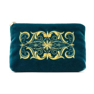 "Velvet cosmetic bag ""Nadina"" green with gold embroidery"
