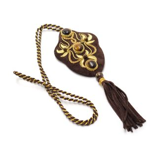 """Pendant """"evening Light"""" brown with gold embroidery"""