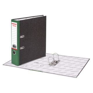 Folder-Registrar FISMA, texture standard, with marble flooring, 80 mm, green spine