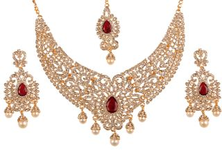 Touchstone Indian Bollywood Desire Legendary Style Old Diamond Look Faux Ruby Grand Designer Bridal Jewelry Necklace Set In Antique Gold Tone For Women