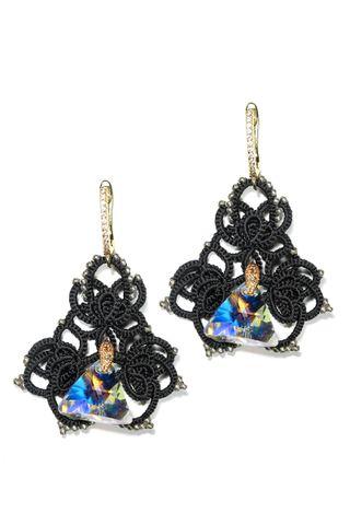 Lace earrings Alenushka black
