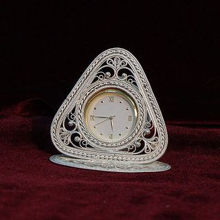 Kazakovskaya Filigree / Clock on a triangular stand
