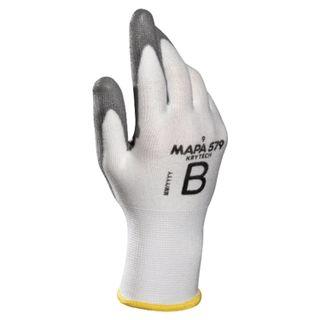 MAPA / KryTech 579 textile gloves, polyurethane coating (doused), size 8 (M), white