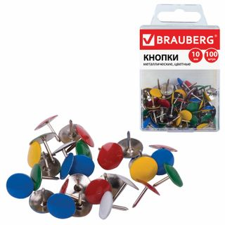 Stationery BRAUBERG, metallic, colored, 10 mm, 100 PCs., in plastic box