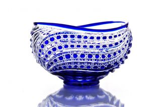 "Crystal salad bowl ""Fars"" blue"