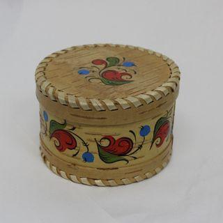 """Box of birch bark """"Pyermogori painting"""" round 6 cm"""