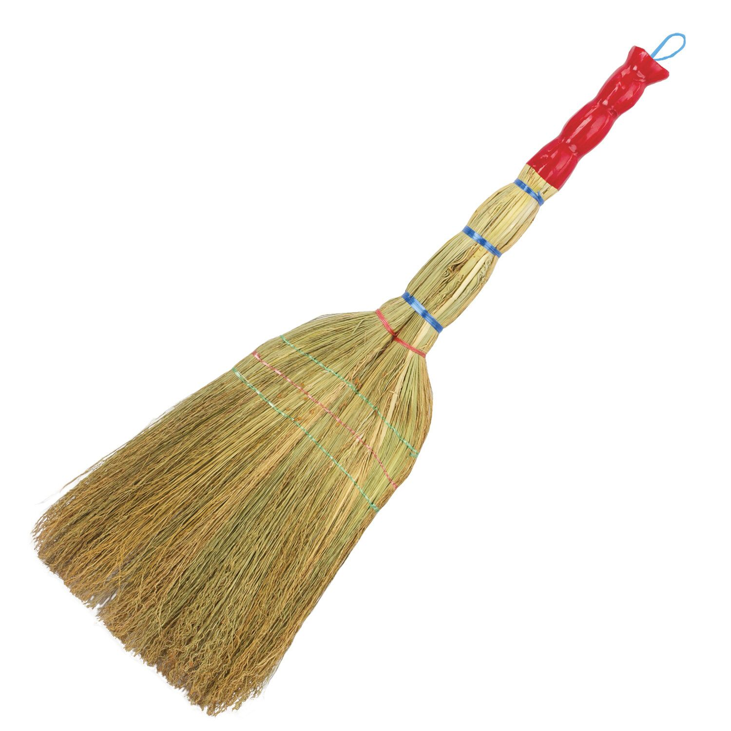 """LIME / Sorghum broom 3-stitched """"Lux"""", handle in foil, 360-380 g, panicle width 28-31 cm, length 79 cm"""