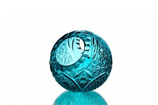 "Crystal vase-basket ""Ball"" small turquoise"