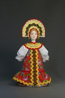 Doll gift porcelain. Russia. Women's traditional costume (styling).