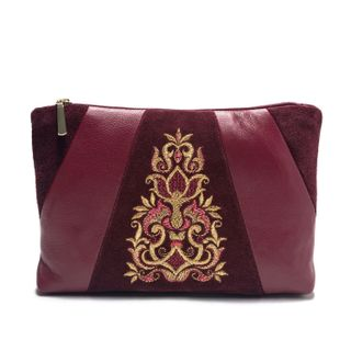 "Leather cosmetic bag ""Lily"" Burgundy with gold embroidery"