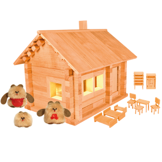 Designer Hut three bears with puppets, furniture and wiring, 151 element, Pelsi