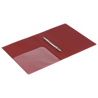 Folder with metal binder and inner pocket BRAUBERG Diagonal, dark red, up to 100 sheets, 0.6 mm