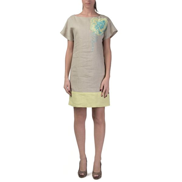 Women's dress 'Watercolour' a grey with silk embroidery