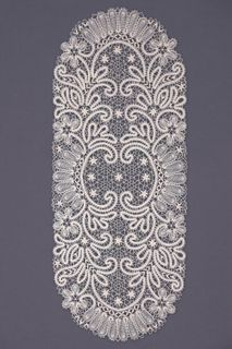 Doily lace oval with traditional Vologda ornament