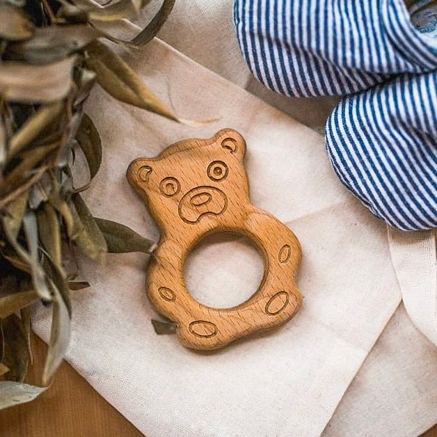 "Wooden rattle teething toy ""Bear"""