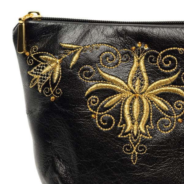 Leather cosmetic bag Signature black with gold embroidery