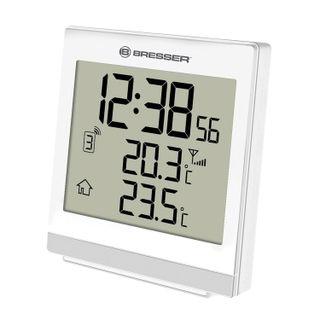 Meteorological station BRESSER TemeoTrend SQ, temperature sensor, clock, alarm clock, white