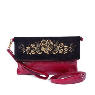 "Leather bag ""Camellia"" Burgundy with gold embroidery"