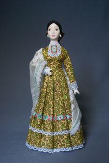 Doll gift. Women's festive costume of the Kuban Cossacks. The end of the 19th century. Kuban. Russians (Cossacks)