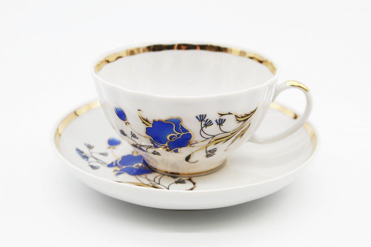 Dulevo porcelain / Tea cup and saucer set, 12 pcs., 275 ml White swan Blue poppy