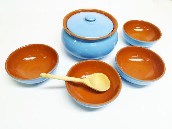 Vyatka ceramics / Set of dishes (blue)