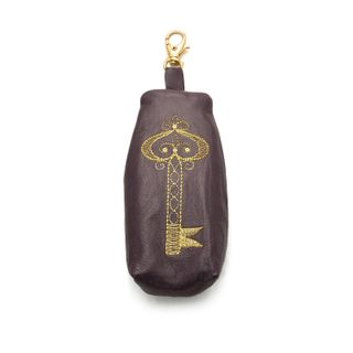 Leather key holder Golden Key purple color with Golden embroidery