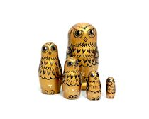 Owl - Russian doll booklet, 5 dolls - author's gold
