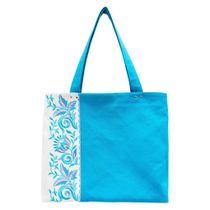 Linen bag 'Lira' blue with silk embroidery