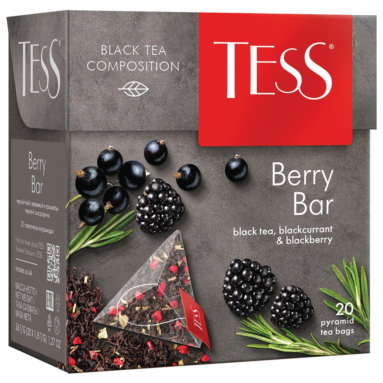 "TESS / Tea ""Berry Bar"" black with blackberry and black currant aroma, 20 pyramids, 1.8 g each"