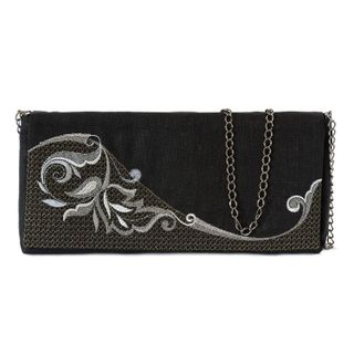 "Linen clutch ""grace"" in black with gold embroidery"