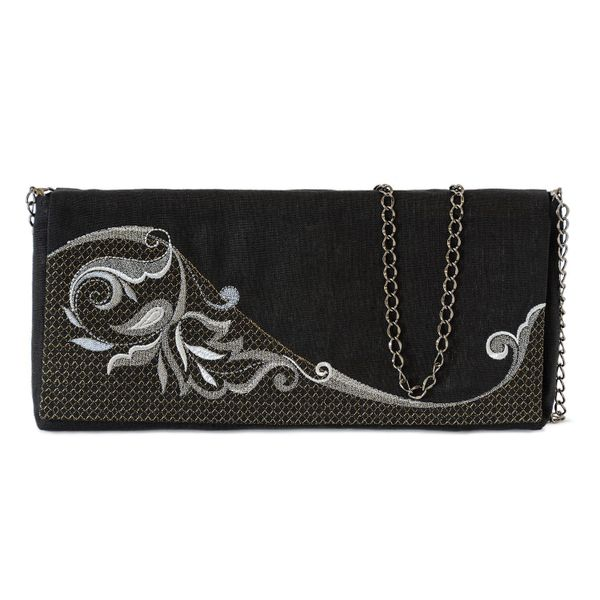 Linen clutch 'grace' in black with gold embroidery