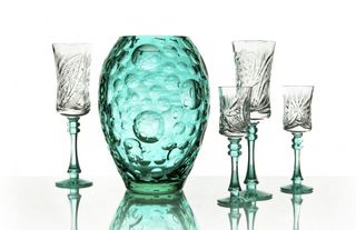 """Crystal vase for flowers """"Caramel"""" color turquoise"""