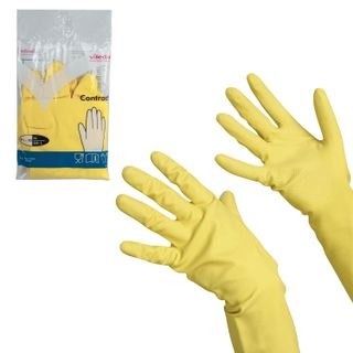"""VILEDA / Household rubber gloves """"Contract"""" with cotton spraying, size XL (very large), yellow"""