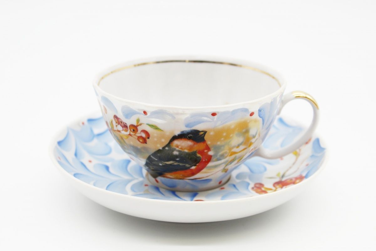 Dulevo porcelain / Tea cup and saucer set, 12 pcs., 275 ml White swan Frost