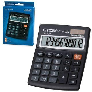 CITIZEN SDC-812BN desktop calculator, SMALL (124x102 mm), 12 digits, dual power supply