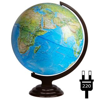 Geographical globe with a diameter of 420 mm on a wooden stand with backlight