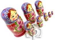 Russian woman - Russian doll booklet, 8 dolls - non-traditional