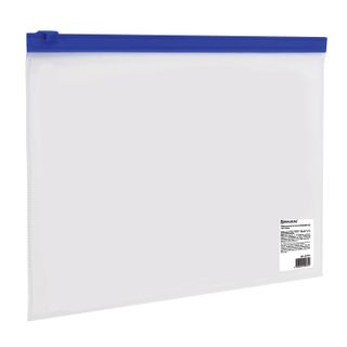 Folder-zipper envelope SMALL FORMAT (245х190 mm), A5, transparent, lightning blue, 0.11 mm, BRAUBERG