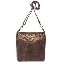 Suede bag 'Dragonfly' brown with gold embroidery