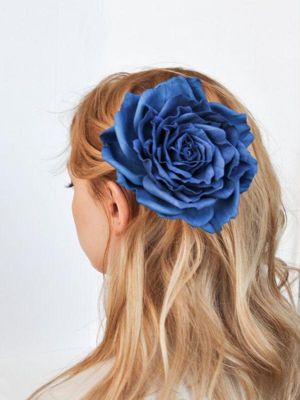 Brooch hairpin Rose blue