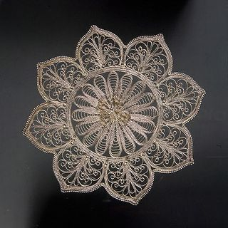 "Plate ""Lily"" increased silvering, Kazakovo Filigree"