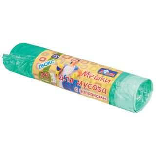 YORK / AZUR garbage bags with ties, green, 20 pcs per roll, HDPE, 13 microns, 50x56 cm, 35 l