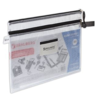 Folder-zipper envelope A4 (335х243 mm), 2 compartments, PVC, transparent, 0.3 mm, BRAUBERG